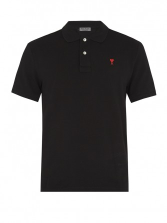 Black Cotton Polo Shirt