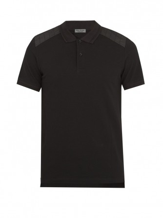 Black Silk and Cotton Polo Shirt
