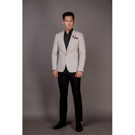 Light Cream Wool and Linen Blazer 25000DT605