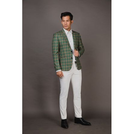Green Windowpane Wool and Linen Blazer 25001DT601