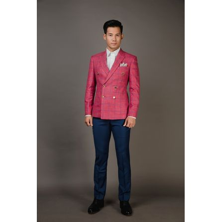 Brick Red Windowpane Wool and Linen Blazer 25002DT601