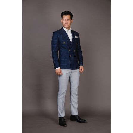 Navy Windowpane Wool and Linen Blazer 25003DT602