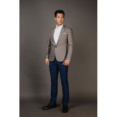 Grey and Blue Windowpane Blazer 25004DT602