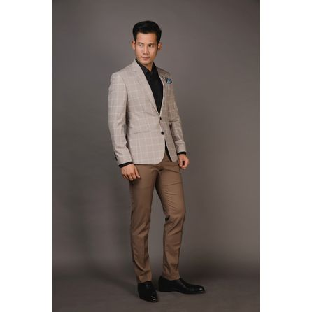 Cream Windowpane Blazer 25008DT601