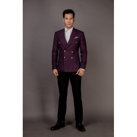 Burgundy Wool and Linen Blazer 25008DT602