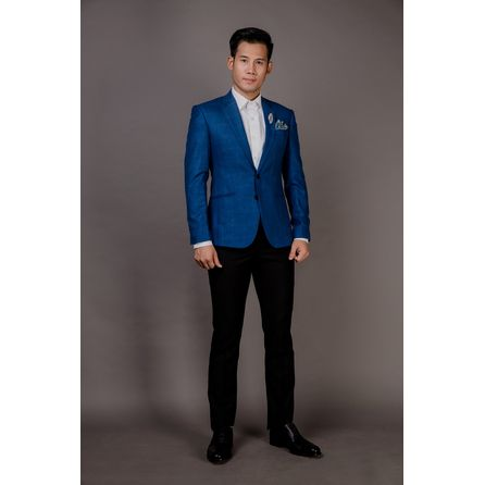 Blue Wool Silk and Linen Blazer 25008DT603