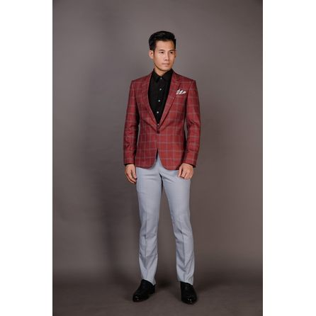 Brick Red Windowpane Blazer 25008DT605
