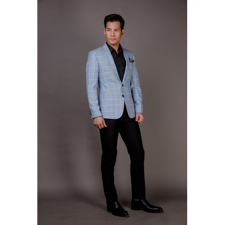 Light Blue Windowpane Blazer 25010DT605