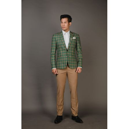 Green Windowpane Check Blazer 25010DT606