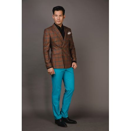 Green and Orange Windowpane Blazer 25008DT604