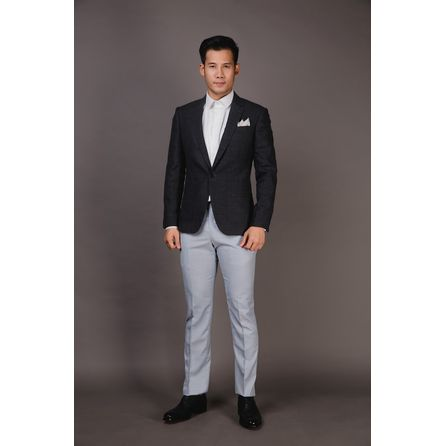 Grey Wool Silk and Linen Blazer SG13DT6013