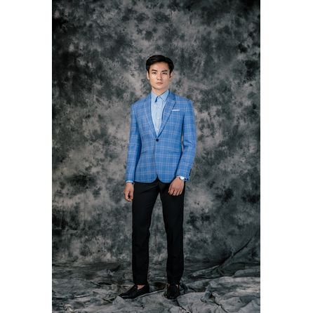 Check Blue Wool and Linen Blazer 25010DT604