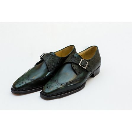 GREEN HAND-BUFFED LOAFERS
