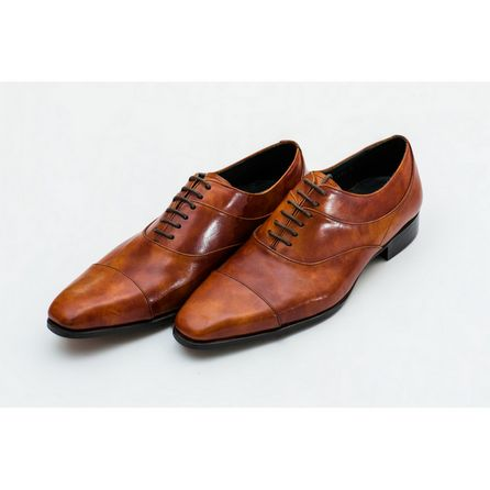 BROWN HAND-BUFFED OXFORD SHOES