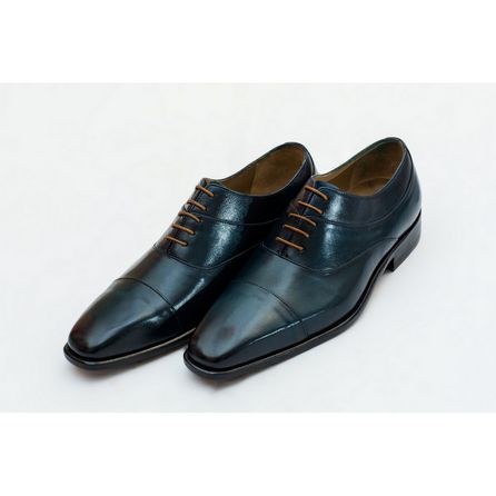 BLUE HAND-BUFFED OXFORD SHOES