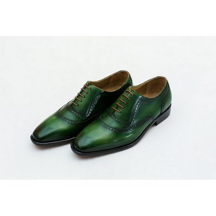 GREEN HAND-BUFFED OXFORD SHOES