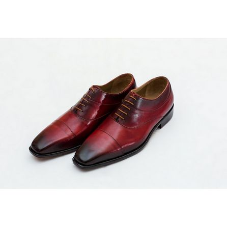 RED HAND-BUFFED OXFORD SHOES