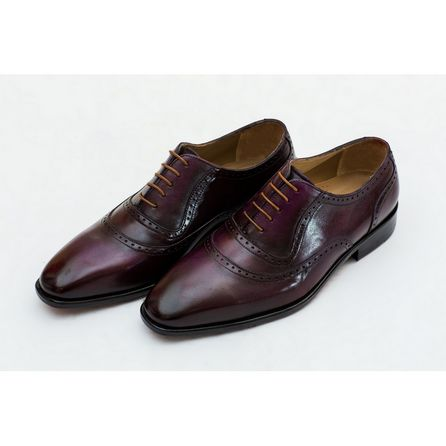 PURPLE   HAND-BUFFED OXFORD SHOES