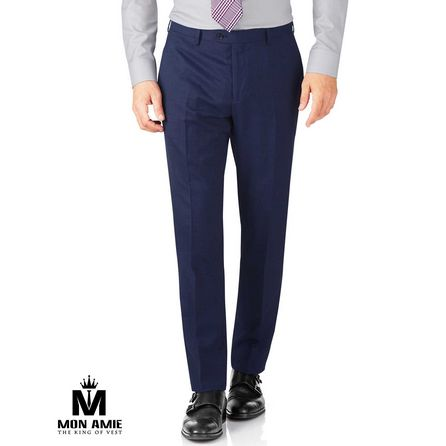 Classic Blue Wool Tailored Trouser