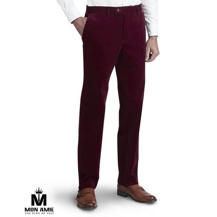 Brick Red Wool and Cotton Trouser