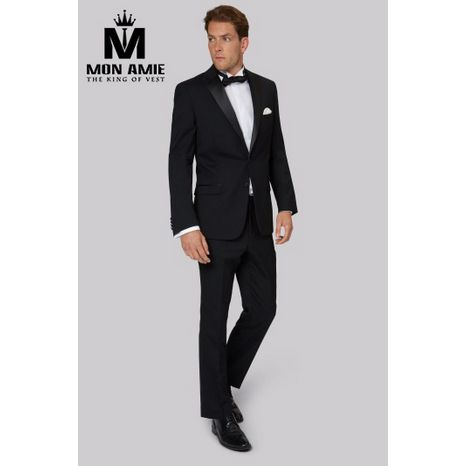 Slim fit  Black Peak Label Wool Tuxedo