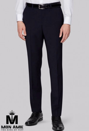 Men Slim Fit Trouser in dark blue