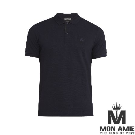 Dark Blue Cotton Polo Shirt
