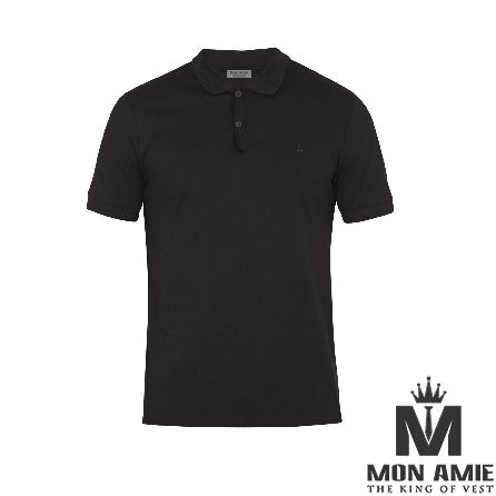 Black Wool and Cotton T-Shirt