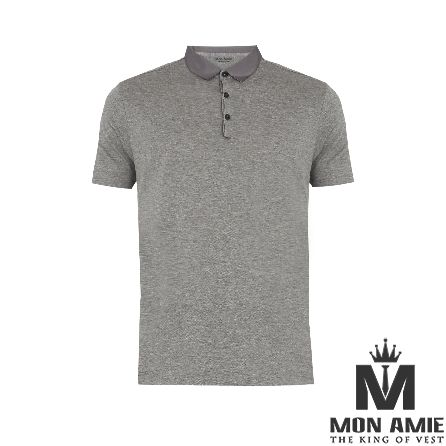 Grey Cotton Polo Shirt