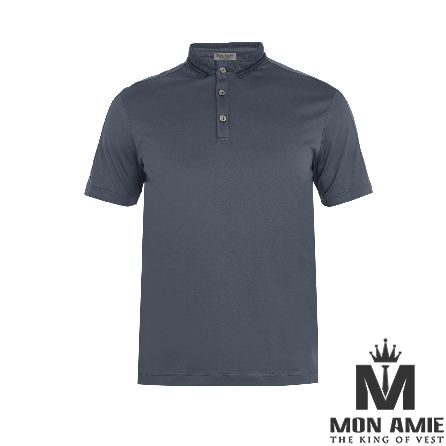 Gray Blue Cotton Polo Shirt