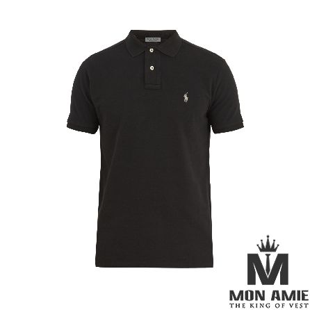 Classic Black Cotton Polo Shirt