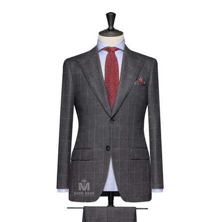 Dark Grey Peak Label Suit 7140CE0032