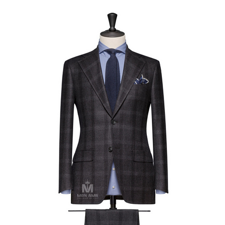 Dark Grey Notch Label Suit 704SB133