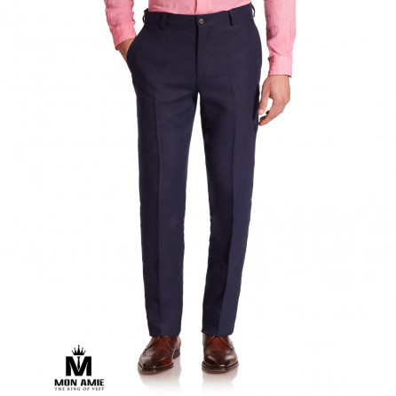 Men Regular Trouser in Purple Blue
