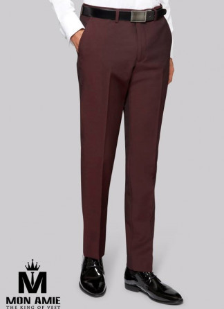 Men Regular Fit Trouser in Red Wine