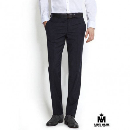 Hiden Striped Slim Fit Trouser in Black
