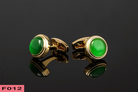 Gold Stainless Steel Green Pearl Cufflinks