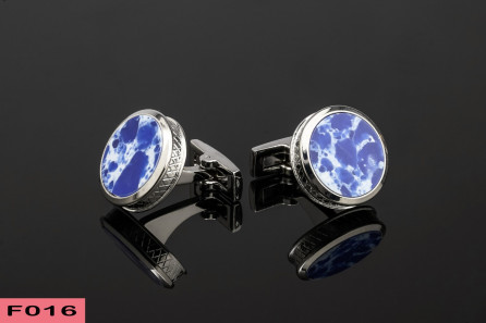 White and Blue Marble Cufflinks