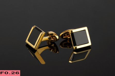 Gold Stainless Steel Black Square Cufflinks