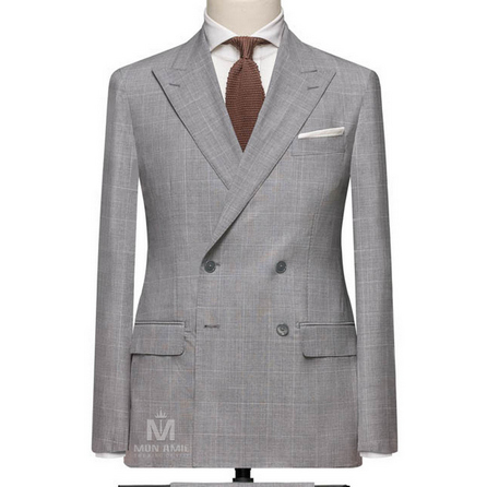 Light Grey Peak Label Suit 7140CE0032