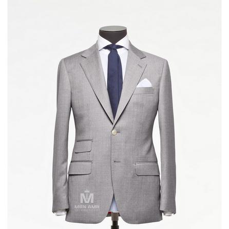 Plain Grey Notch Label Suit 523DT50707