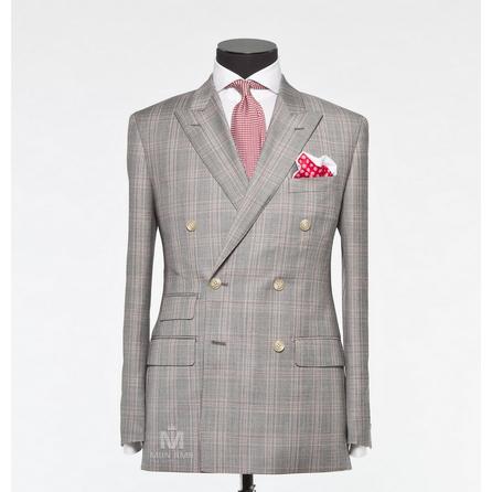Check Grey Peak Label Suit 703SB789