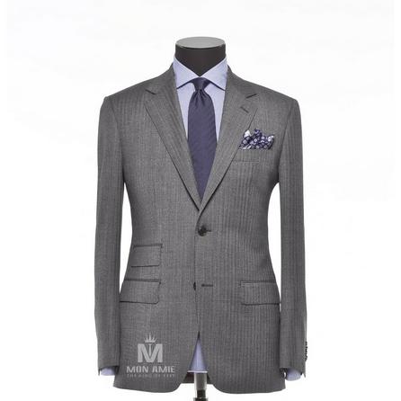 Herringbone Grey Notch Label Suit 523DT50732