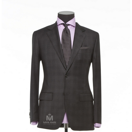 Check Brown Notch Label Suit 71110DT7001