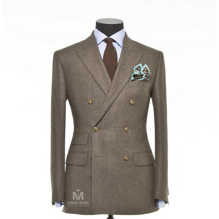 Plain Brown Peak Label Suit BAR18015