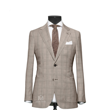 Glencheck Brown Notch Label Suit 7140CE0036