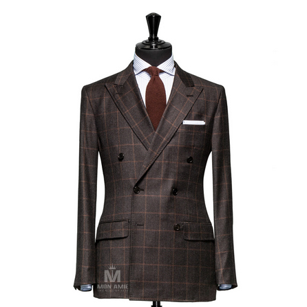 Glencheck Brown Peak Label Suit BAR15001