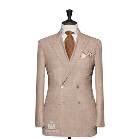 Plain Beige Peak Label Suit 624DT60754