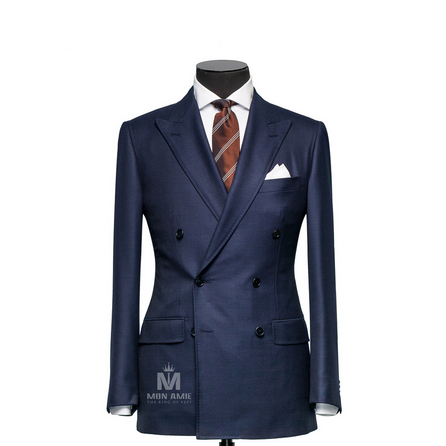 Sharkskin Blue Peak Label Suit 30999DT7021